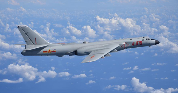 Twelve H-6K bombers fly over South China Sea