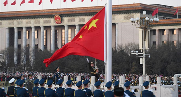 PLA takes over flag-raising duty at Tian