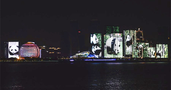 Light show seen by Qiantang River in Hangzhou