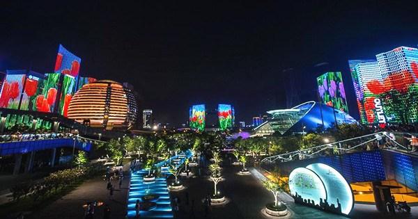 Light show seen by Qiantang River in Hangzhou