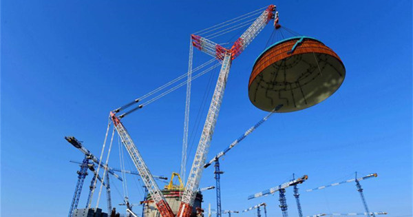 Hemispherical dome installed for No. 6 unit of Fuqing nuclear power plant in Fujian