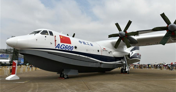 Amphibious aircraft AG600 displayed in Zhuhai