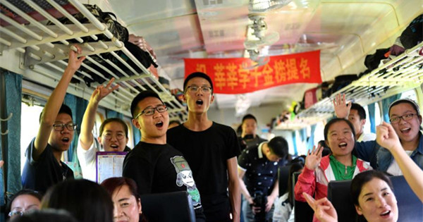Special train takes students to gaokao exam site