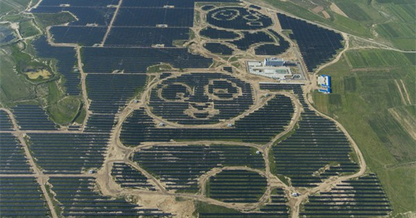 Panda-shaped solar power station starts operation