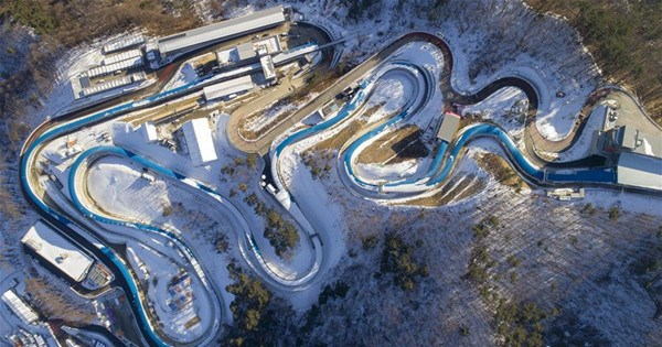 Aerial view of venues for Pyeongchang 2018 Winter Olympic Games