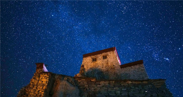 Spectacular starry night in Shigatse, Tibet