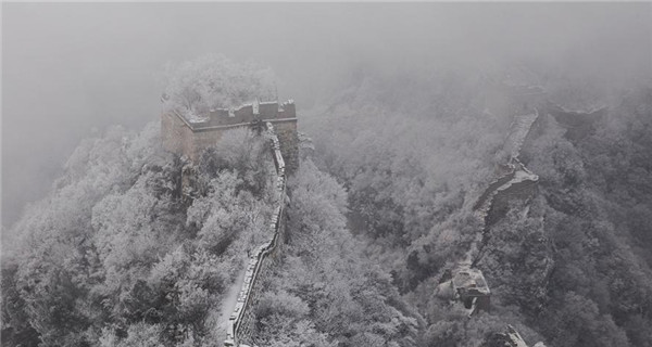 Beautiful scene of snowy Jiankou Great Wall