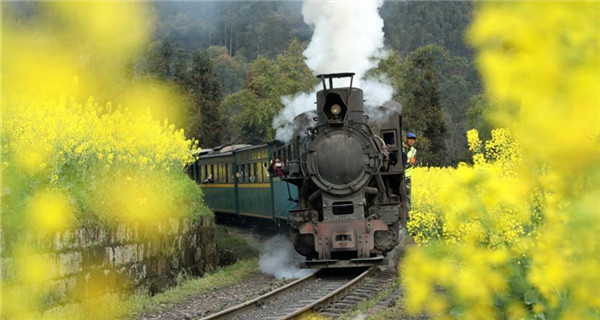 Steam train a big attraction for tourists in Sichuan