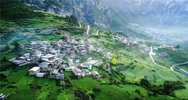 Scenery of Zhagana mountains featuring Tibetan-style villages
