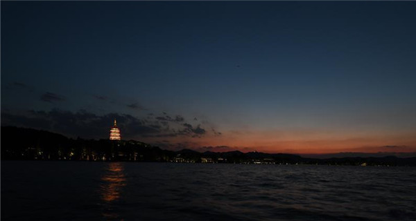 Night view of Leifeng Pagoda of West Lake in Hangzhou