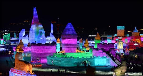 Tourists visit Harbin Ice and Snow World in NE China