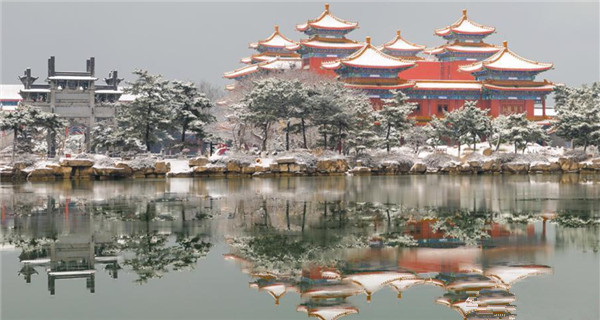 A visit to Penglai Pavilion in snow