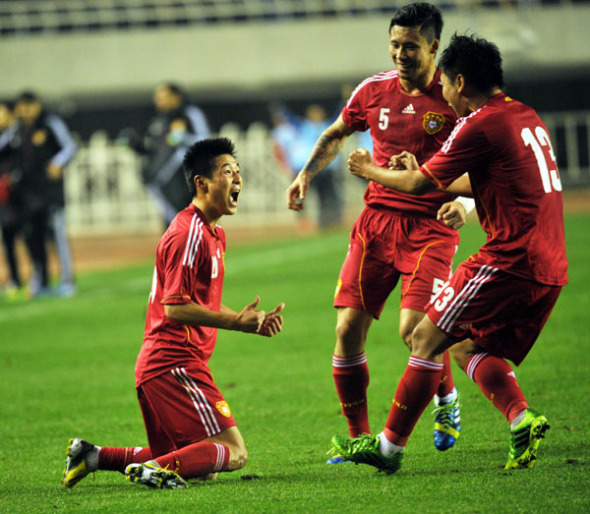 Wu Lei of China celebrates after scoring a goal against Indonesia in Xi'an city, Northwest China's Shaanxi province on Nov 15, 2013. [Photo/Asianewsphoto]