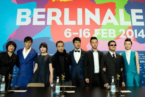 Cast and director of Blind Massage at Berlin International Film Festival.