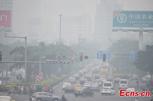 Cars drive on a road amid the heavy haze in Haikou, South China's Hainan province, Feb 12, 2015.[Photo: China News Service/Luo Yunfei]