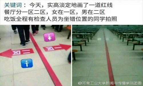A red line designates areas for male and female students in the cafeteria of the Ruyang Experimental High School in Henan Province. (Photo: Sina Weibo/Henan University of Technology)