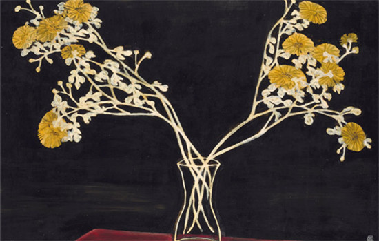 Sanyu, Chrysanthemums in A Glass Vase (Photo provided to China Daily)