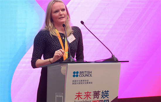 Paralympics gold medalist Susie Rogers speaks to the audience in Beijing, China on Dec 4, 2016. (Photo provided to chinadaily.com.cn)
