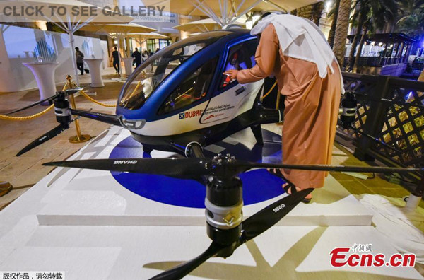 A model of the EHang 184 autonomous aerial vehicle is displayed at the World Government Summit 2017 in Dubai's Madinat Jumeirah on February 13, 2017. The Chinese-made drone will begin regular operations in Dubai in July. (Photo/Agencies)