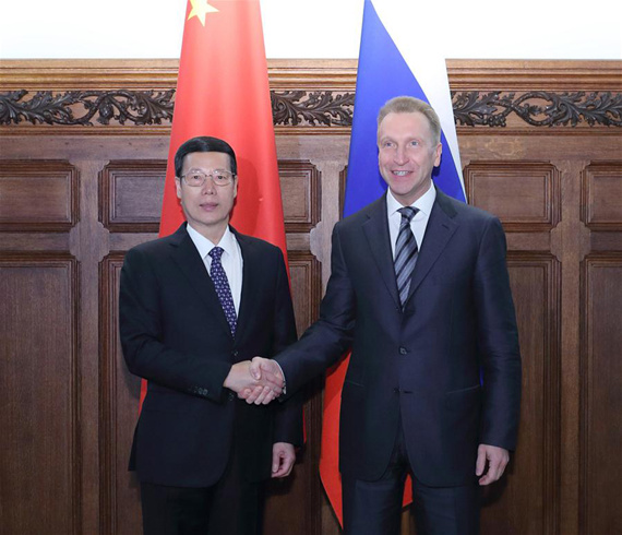 Chinese Vice Premier Zhang Gaoli (L) and Russian First Deputy Prime Minister Igor Shuvalov shake hands during the fourth meeting of the China-Russia Investment Cooperation Committee in Moscow, Russia, April 12, 2017. (Xinhua/Wang Ye)