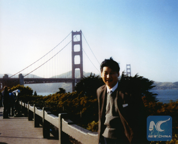 File photo taken in 1985 shows Xi Jinping, then secretary of the Zhengding County Committee of the Communist Party of China, poses for a photo as he visits San Francisco in the United States. (Xinhua)