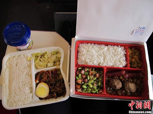 Ready-meals provided on high-speed trains in China. (Photo/Chinanews.com)