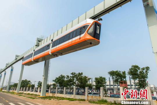 China's fastest 'Skytrain' starts trial runs in Qingdao, Shandong province on July 20, 2017.([Photo/China News Service)