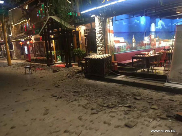 Photo taken on Aug. 8, 2017 shows a street view after earthquake near the tourist center in Jiuzhaigou County in southwest China's Sichuan Province. A 7.0-magnitude earthquake jolted Jiuzhaigou County at 9:19 p.m. Tuesday (Beijing Time), according to the China Earthquake Networks Center (CENC). (Xinhua)