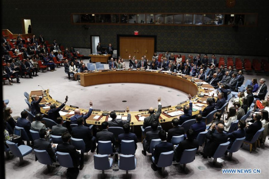 Photo taken on Sept. 11, 2017 shows the United Nations Security Council voting on a resolution on the Democratic People's Republic of Korea (DPRK) at the UN headquarters in New York. UN Security Council on Monday imposed new sanctions on the DPRK over its latest nuclear test. (Xinhua/Li Muzi)