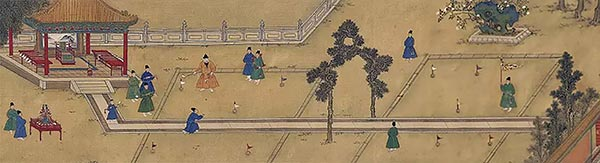 Emperor Xuanzong of the Ming Dynasty at Leisure portrays the emperor playing chuiwan. (Photo/The Palace Museum)