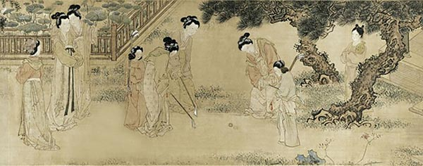 Ming Dynasty painter Du Jin's painting portrays women playing chuiwan in court. (Photo/Shanghai Museum)