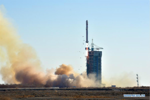 China launches a land exploration satellite into a preset orbit from the Jiuquan Satellite Launch Center in the Gobi desert, northwest China's Gansu Province, Dec. 23, 2017. The satellite is mainly used for remote sensing exploration of land resources. A Long March-2D rocket carried the satellite into space. (Xinhua/Zhen Zhe)
