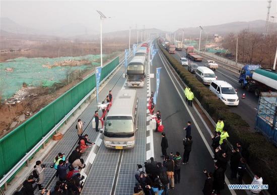 ehicles run on a solar expressway in Jinan, capital of east China's Shandong Province, Dec. 28, 2017. (Xinhua/Zhu Zheng)