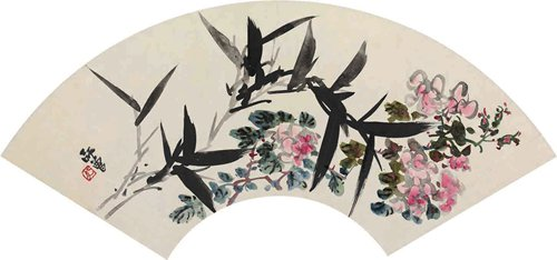 Flower Fan Cover by Chen Shizeng (Photo/Courtesy of National Art Museum of China)