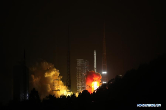 China sends twin BeiDou-3 navigation satellites into space on the Long March-3B carrier rocket from Xichang Satellite Launch Center, southwest China's Sichuan Province, Jan. 12, 2018. The twin satellites are coded the 26th and 27th satellites in the BeiDou Navigation Satellite System (BDS). (Xinhua/Liang Keyan)