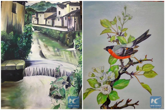 Paintings drawn by Huang Yuqing (Photo/Xinhua)