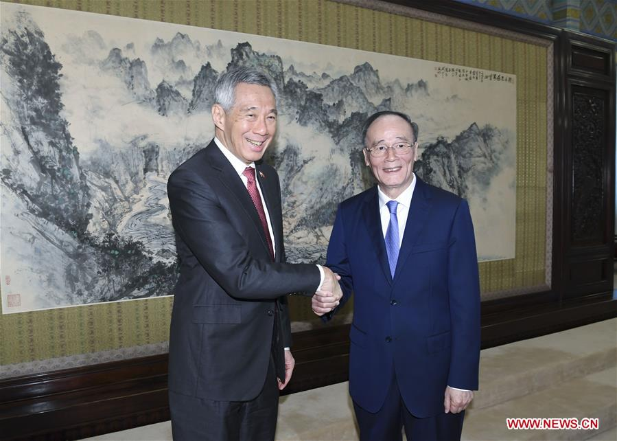 Chinese VP meets Singaporean PM on promoting ties