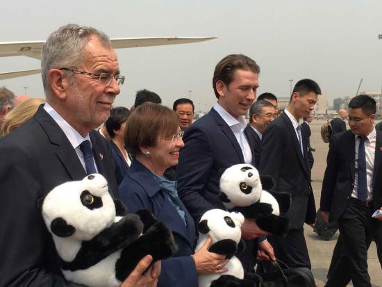 Austrian President Alexander Van der Bellen, who headed a large delegation including Austrian Chancellor Sebastian Kurz and members of the business community, arrives in Chengdu City, Sichuan Province, April 11, 2018. /CGTN Photo