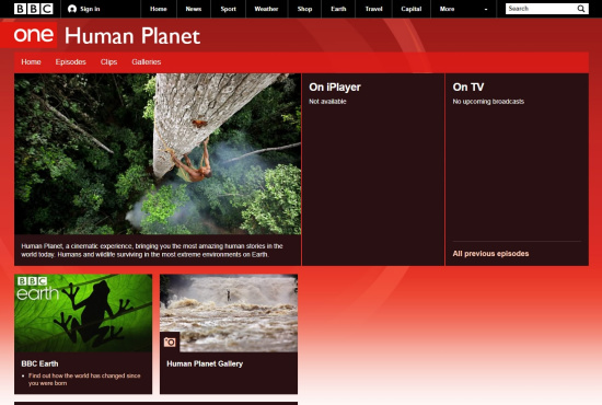 The Human Planet page on BBC One /Screenshot