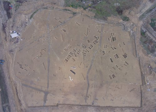 An aerial view of the excavation in Chengdu, Sichuan Province. (Photo/Courtesy of Wang Tianyou)