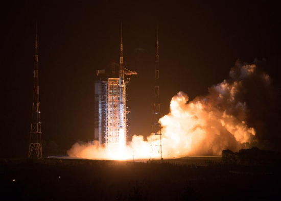 Photo taken on May 9, 2018 shows the Gaofen-5 satellite being launched off the back of a Long March 4C rocket at 2:28 a.m. Beijing Time from the Taiyuan Satellite Launch Center in northern Shanxi Province. China on Wednesday launched Gaofen-5, a hyperspectral imaging satellite, as part of the country's high-resolution Earth observation project. (Xinhua/Jin Liwang)