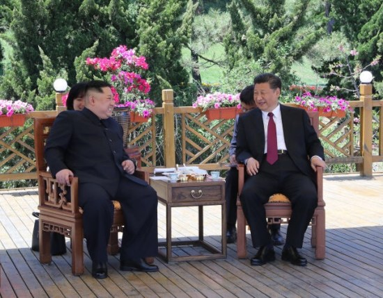 Xi Jinping and Kim Jong-un hold talks in Dalian, northeast China's Liaoning Province, on May 7-8, 2018. (Photo/Xinhua)