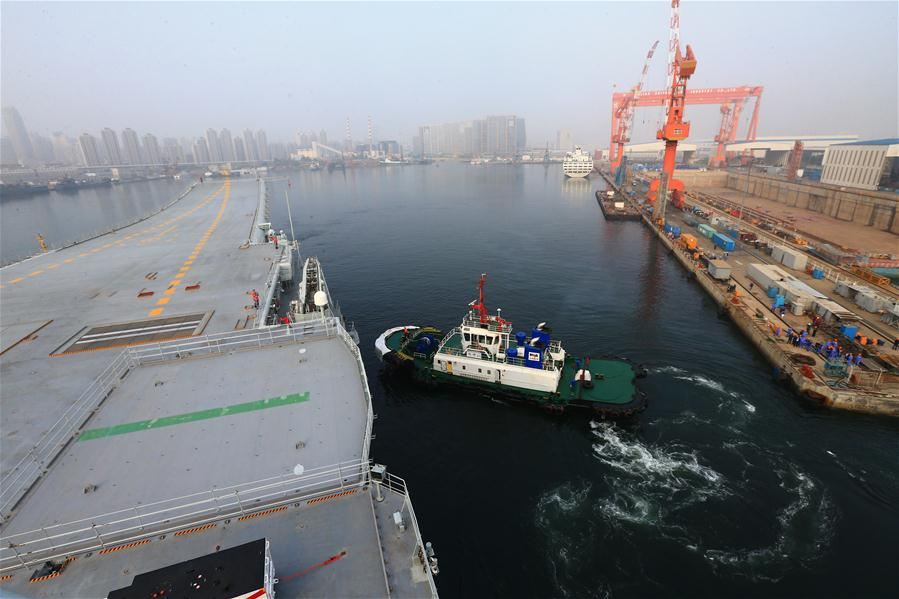China's first home-built aircraft carrier begins seaborne test