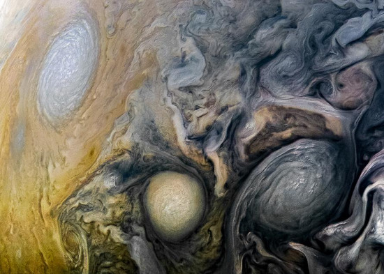 See intricate cloud patterns in the northern hemisphere of Jupiter in this new view taken by NASA's Juno spacecraft. The color-enhanced image was taken on April 1 at 2:32 a.m. PST (5:32 a.m. EST), as Juno performed its twelfth close flyby of Jupiter. (Photo/NASA)