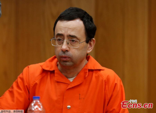 Former Michigan State University and USA Gymnastics doctor Larry Nassar sits during the sentencing hearing in Eaton County Circuit Court in Charlotte, Michigan. (Photo/Agencies)
