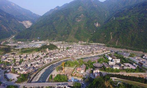 An aerial view of Yingxiu town (Photo: Cui Meng/GT)