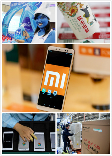 Pictured from the top right are detergent maker Blue Moon, bottled water and beverage company Nongfu Spring, tech firm Xiaomi, smartphone maker Oppo and home appliance giant Gree. (Photo/chinadaily.com.cn)