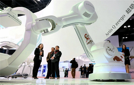 Siemens AG displays its latest medical equipment at an international exposition in Beijing.