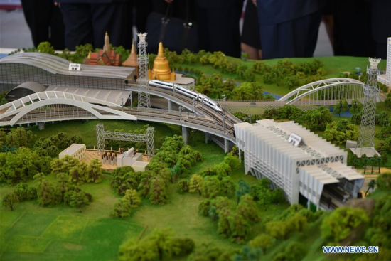 Photo taken on Dec. 21, 2017 shows a model of the first phase of the high-speed railway linking Bangkok with Nakhon Ratchasima province in Pak Chong, Thailand. (Xinhua/Li Mangmang)