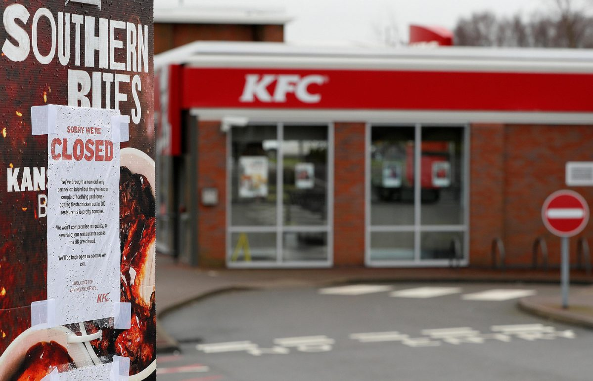 KFC runs out of chicken in UK